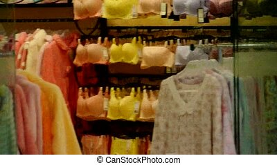 Many of bra,pajamas in Lingerie shop