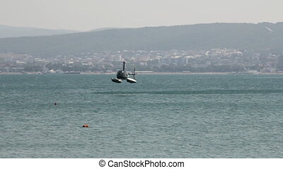 Helicopter on the water - Soft landing of the helicopter on...
