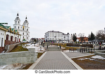 Area in the center of Minsk on a cloudy spring day, Belarus