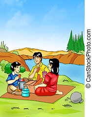 Picnic - Illustration of a family having a picnic at...