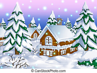 Winter Hut - Illustration of houses during wintertime