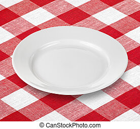 branca, vazio, prato, vermelho, gingham, toalha de mesa