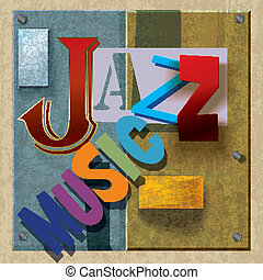 Abstract jazz music background with color signs