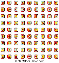 red icons set isolated on white