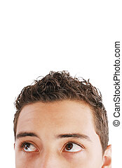Young trendy businessman looking up. Isolated against white background