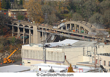 Construction of a new bridge, Oregon city OR - A...