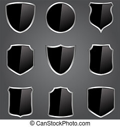 Black shields - Vector set of black shields