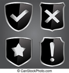 Vector black shields with icons
