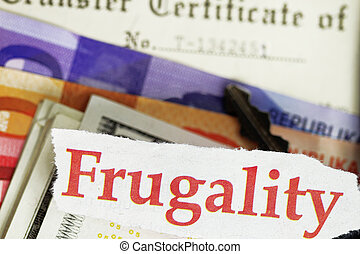 Frugality abstract - cutout money and certificate of title.