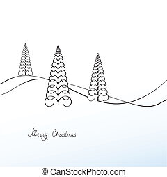 Christmas trees, greeting card