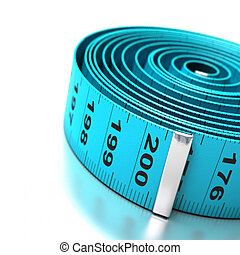 blue plastic tapemeasure over a white background angle of page