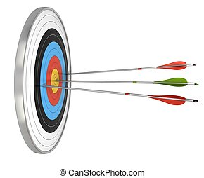 target and three arrows, the green one hit the center and the red ones failed to reach they goals. target isolated over a white background