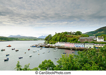 Portree harbour, Skye, Scotland - Morning view of Portree,...