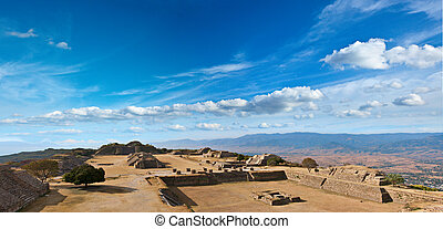 Panorama of sacred site Monte Alban, Mexico - Panorama of...