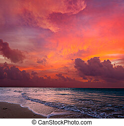 Calm ocean and beach on tropical sunrise - Calm peaceful...