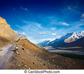 Road to Kee Ki, Key Monastery Spiti Valley, Himachal Pradesh...