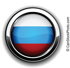 Russian flag button - Vector illustration of national...