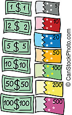 Dollars - Two collections of different currency: dollars and...