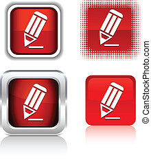 Pencil icons. - Pencil square buttons. Vector illustration....