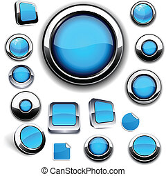 Blue round buttons on white - Collection of blue buttons in...