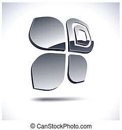 Abstract 3d icon. - Abstract modern 3d butterfly logo....