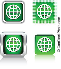 Earth icons. - Earth square buttons. Vector illustration....