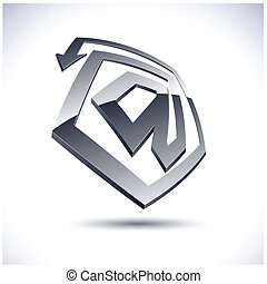 "Abstract 3d icon. - Abstract modern 3d ""@"" logo. Vector."