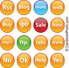 Internet icons. - Internet set of circle glossy icons.