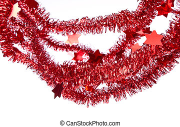 red tinsel with stars isolated on white background