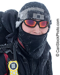 Hiker covered with snow