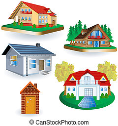 five houses - vector illustration of five different houses