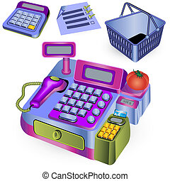 supermarket cashier and other icons - vector illustration of...