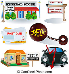 recession images 3 - vector illustration of recession icons,...