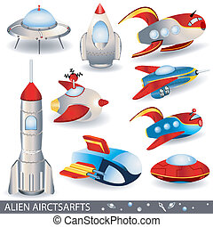 alien aircrafts - vector illustration of alien aircraft...