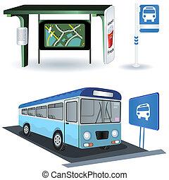 buss, station, avbildar