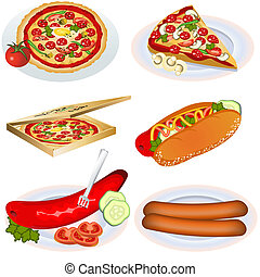 fast food collection 2 - vector illustration of fast food...