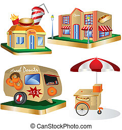 Fast food restaurants - vector illustration of Fast food...