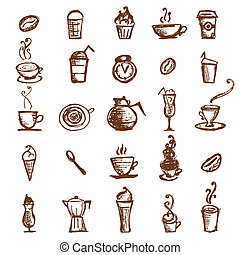 Coffee sketch, design elements