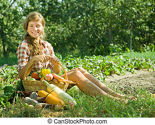 girl with basket of harvest