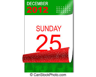 2d illustration of a calendar open on the day of Christmas