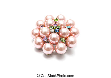 Pink Brooch - Beautiful pink brooch isolated on white...