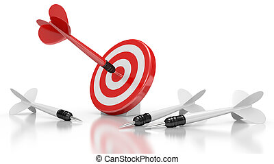Dart Hitting A Target. Leadership concept. 3d illustration