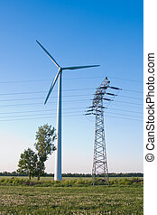 windmill and powerlines - windmill together with high...