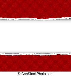 Torn christmas background with place for your text. Vector illustration