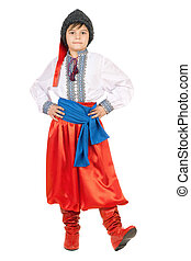 Boy in the Ukrainian national costume Isolated