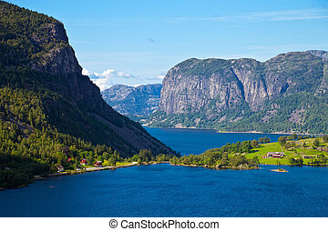 Fjords in Norway - The top view on tranquil scene in...