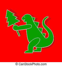 Godzilla - Applique cute Godzilla-Dragon symbol 2012 year.
