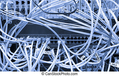 Fiber cables connected to servers in a datacenter