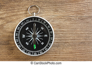 compass on wooden background - compass on old wooden...