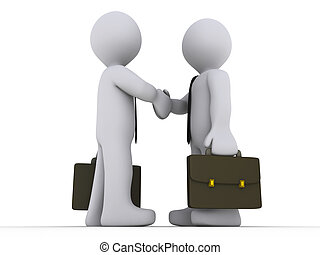 Businessmen shake hands - Two 3d businessmen shake hands
